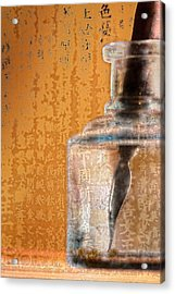 Ink Bottle Calligraphy Acrylic Print by Carol Leigh