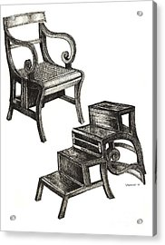 Ink Drawing Of Regency Metamorphic Chair Acrylic Print by Adendorff Design