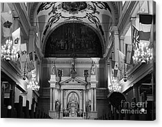 Inside St Louis Cathedral Jackson Square French Quarter New Orleans Black And White Acrylic Print by Shawn O'Brien
