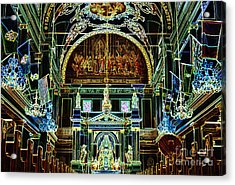 Inside St Louis Cathedral Jackson Square French Quarter New Orleans Glowing Edges Digital Art Acrylic Print by Shawn O'Brien