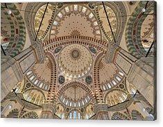 Interior Of Fatih Mosque Acrylic Print by Salvator Barki