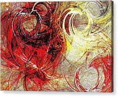 Intertwining Hearts-rg Acrylic Print by Maria Urso