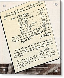 Invoice Of A Sale Of Black Slaves Acrylic Print by Photo Researchers