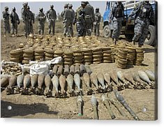Iraqi National Police And Us Soldiers Acrylic Print by Everett