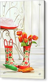 Iron Chair With Little Rain Boots And Tulips  Acrylic Print by Sandra Cunningham