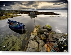 Islay, Scotland Two Boats Anchored By A Acrylic Print by John Short