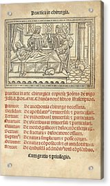 Italian Book On Surgery, 1514 Acrylic Print by King's College London