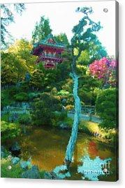 Japanese Tea Garden Temple Acrylic Print by Jerry Grissom