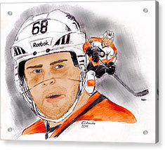 Jaromir Jagr- Color Acrylic Print by Chris  DelVecchio