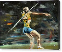 Javelin Thrower Acrylic Print by Paul Mitchell