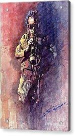 Jazz Miles Davis Maditation Acrylic Print by Yuriy  Shevchuk