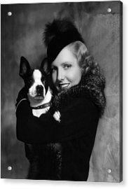 Jean Arthur With Boston Terrier, 1935 Acrylic Print by Everett
