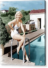 Jean Harlow Poses In Front Of Her Home Acrylic Print by Everett