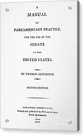 Jefferson: Title Page, 1810 Acrylic Print by Granger