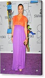 Jessica Alba Wearing A Custom Diane Von Acrylic Print by Everett