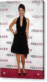 Jessica Alba Wearing A Prada Dress Acrylic Print by Everett