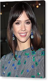 Jessica Alba Wearing Vintage Earrings Acrylic Print by Everett
