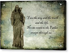 Jesus - Christian Art - Religious Statue Of Jesus - Bible Quote Acrylic Print by Kathy Fornal