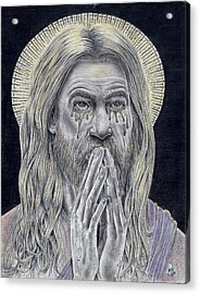 Jesus Crying For Us Acrylic Print by Vincnt Clark