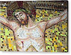 Jesus On The Cross Mosaic Acrylic Print by Munir Alawi