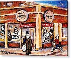 Jewish Montreal Vintage City Scenes Fish Market On Roy Street Acrylic Print by Carole Spandau
