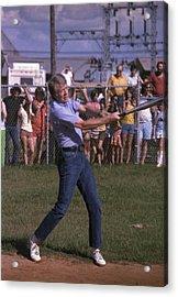 Jimmy Carter At Bat During A Softball Acrylic Print by Everett
