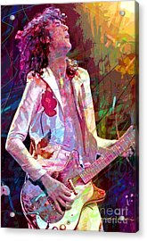 Jimmy Page Led Zep Acrylic Print by David Lloyd Glover