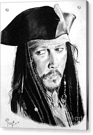 Johnny Depp As Captain Jack Sparrow In Pirates Of The Caribbean Acrylic Print by Jim Fitzpatrick