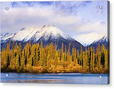 Kathleen Lake And Mountains At Sunrise Acrylic Print by Yves Marcoux