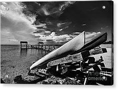 Kayaks Bw Acrylic Print by Bruce Bain