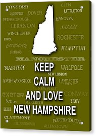 Keep Calm And Love New Hampshire State Map City Typography Acrylic Print by Keith Webber Jr
