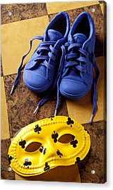 Kids Blue Shoes And Mask Acrylic Print by Garry Gay