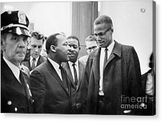 King And Malcolm X, 1964 Acrylic Print by Granger