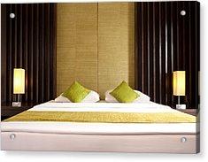 King Size Bed Acrylic Print by Atiketta Sangasaeng