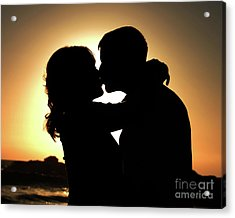 Kiss At Sunset Acrylic Print by Sabino Cruz