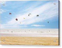 Kiteboarder Paradise Acrylic Print by Richard Newstead