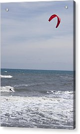 Kiteboarder With Kite In The Waves Acrylic Print by Skip Brown