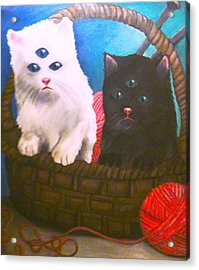 Kittens In A Basket Acrylic Print by Katie Victoria Tolley
