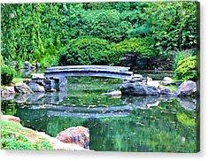 Koi Pond Pondering - Japanese Garden Acrylic Print by Bill Cannon