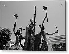La Rogativa Statue Old San Juan Puerto Rico Black And White Acrylic Print by Shawn O'Brien