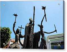 La Rogativa Statue Old San Juan Puerto Rico Ink Outlines Acrylic Print by Shawn O'Brien