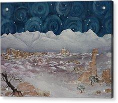 La Sal Mountains In The Snow Acrylic Print by Estephy Sabin Figueroa