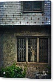 Lady By Window Of Tudor Mansion Acrylic Print by Jill Battaglia