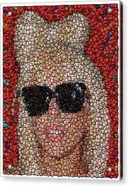 Lady Ga Ga Bottle Cap Mosaic Acrylic Print by Paul Van Scott