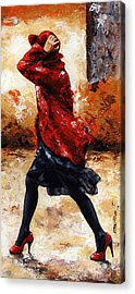Lady In Red 28 Acrylic Print by Emerico Imre Toth
