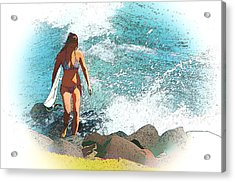 Lady Surfie Acrylic Print by Star Ship