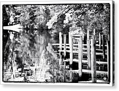 Lake Dock Acrylic Print by John Rizzuto