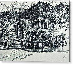 Lake George Shoreline Sketch Acrylic Print by Nancy Mitchell