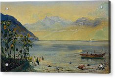 Lake Leman With The Dents Du Midi In The Distance Acrylic Print by John William Inchbold