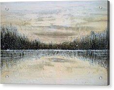 Lake Wylie Snow Acrylic Print by Jackie Dunford